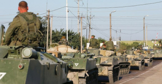 The armor convoy crossing into Ukraine and subsequently destroyed