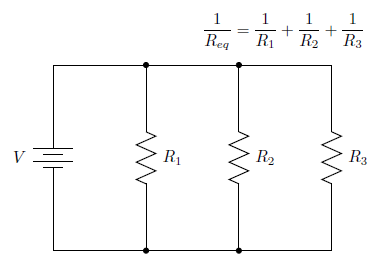 The formula relating equivalent resistance to component resistances in a parallel circuit.