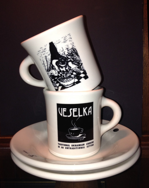 Dishware bought from the Veselka Restaurant