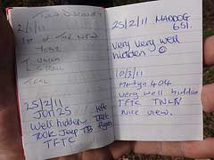 A Signed Log Book in a Geocache