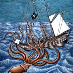 Kraken attacking a ship