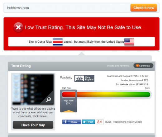 Scam adviser gives Bubblews its worst rating (0%) and calls it `high risk'.