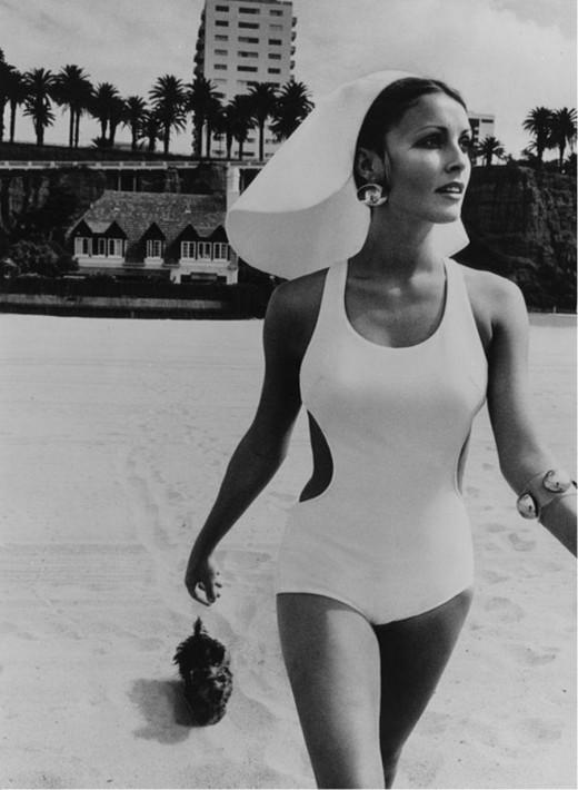 Sharon Tate on the beach, 1960s.