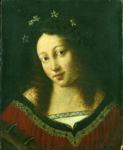 Woman wearing jasmine flowers in hair