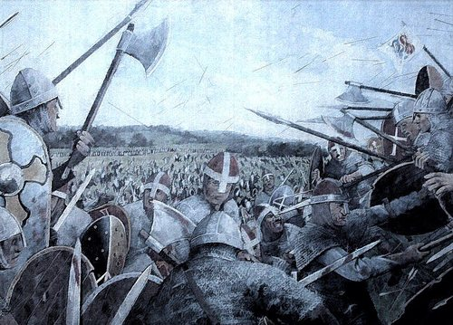 Dane and Saxon meet at Assandun - Ashingdon in present-day southern Essex - Eadmund later died of wounds sustained here