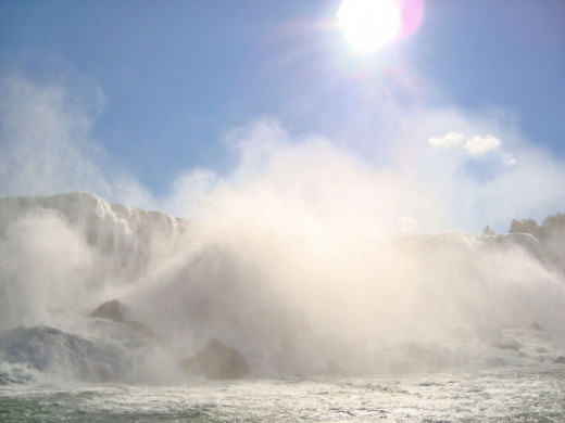 Sun sparkling over the American falls