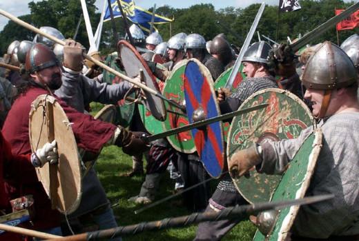 Battle scene - Danes against Saxons during the Jorvik Viking Festival - annually in February