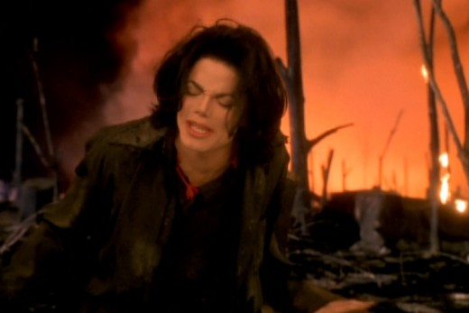 "Shot from Michael Jackson's ""Earth Song"" video"