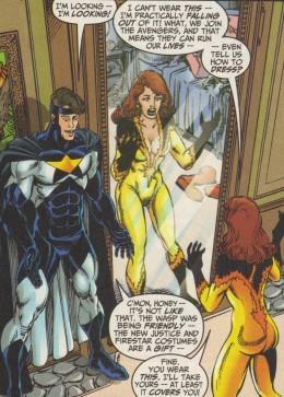 Firestar's original Avenger costume with open front.