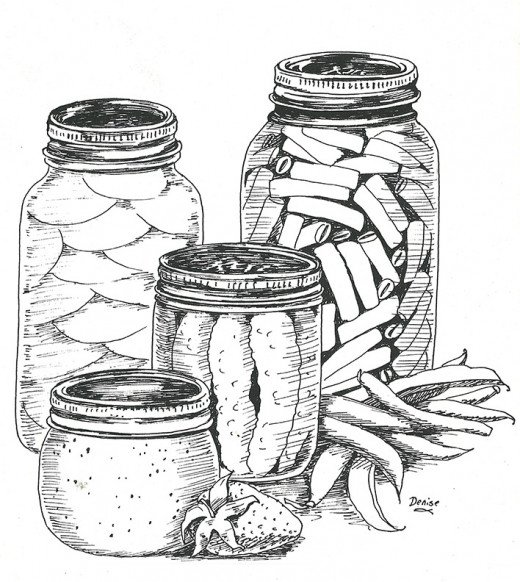 Drawing of canning jars in ink.  Copyright 2014 Denise McGill