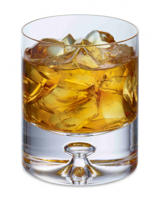 Rusty Nail with ice, in Whiskey Tumbler Glass