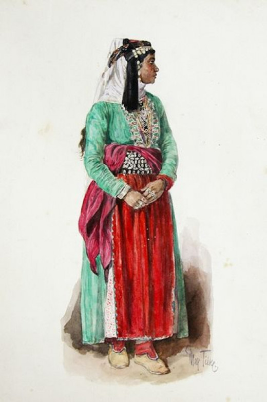 Yazidi woman in traditional clothing