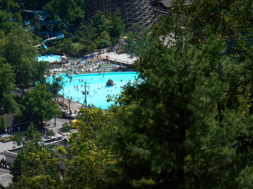 A view of the pool from the Scenic Skyride