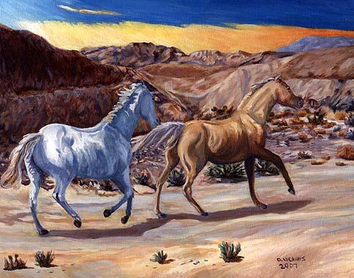 Running Horses, Acrylic painting