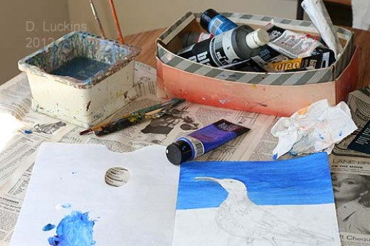 "My painting supplies.  The painting I was trying to complete at that time was the ""Last Curlew Calls to His Ancestors""."
