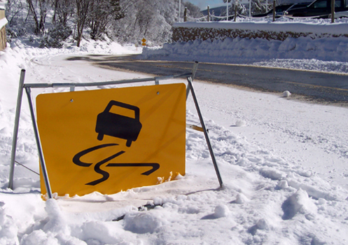 Be Careful When Driving A Loaded Vehicle of Moving Truck On Icy Roads And Be Aware Of Increased Stopping Time