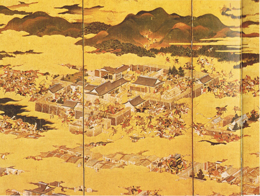 Triptych of the main action of the Hogen Disturbance.