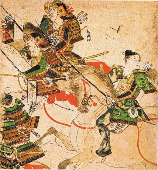 Yoshitomo (at top) with a young Yoritomo (helmetless), the future shogun, in action during the Heiji Disturbance.