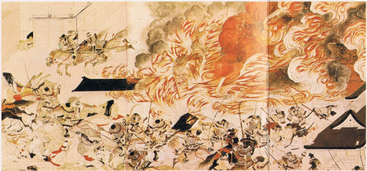 Detail from a picture scroll (emaki) depicting the night attack on Sanjo Palace launched by Minamoto Yoshitomo as part of the Heiji Disturbance.