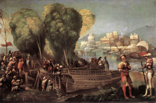 Dosso Dossi, Aeneas and Achates on the Libyan Coast (a 1520), Washington National Gallery of Art - This painting was part of a series of ten for the frieze of the Camerino