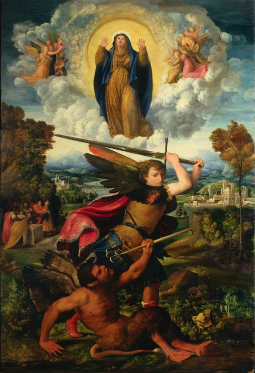 Dosso Dossi, St. Michael and the Assumption of the Virgin (1533), Parma Pinacoteca Nazionale