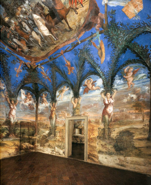 Dosso and Battista Dossi, Detail of the frescoes in the Sala delle Cariatidi (1530), Pesaro Villa Imperiale