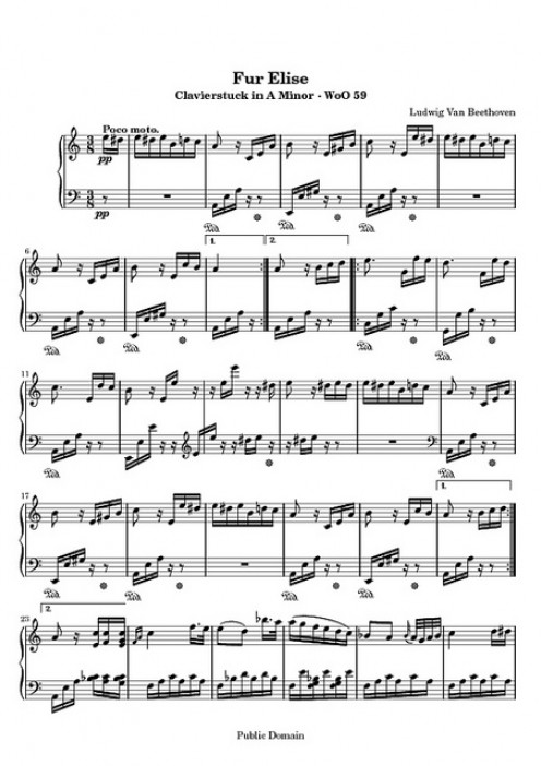 "Picture of Sheet Music ""Fur Elise"""