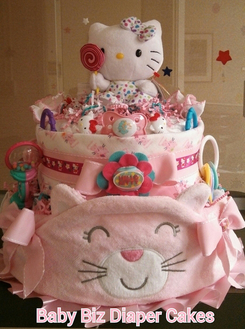 "Gorgeous ""Hello Kitty' Diaper Cake"