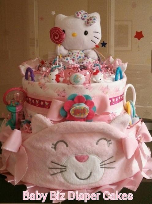 """Gorgeous """"Hello Kitty' Diaper Cake"""