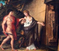 Ariadne shows Theseus the Labyrinth