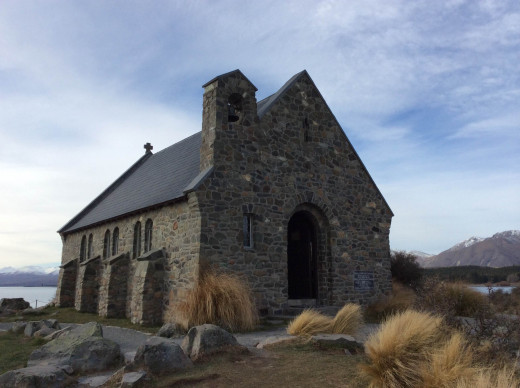 Beautiful stone church at Lake Tekapo.  This was built by first European settlers in New Zealand.