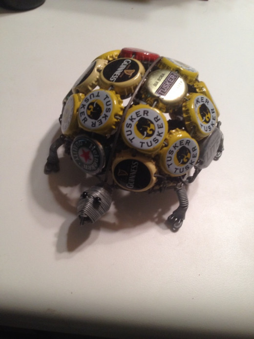 Turtle made with beer bottlecaps.
