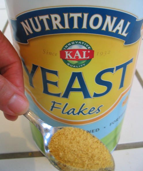 Nutritional yeast is typically sold as small, light flakes.