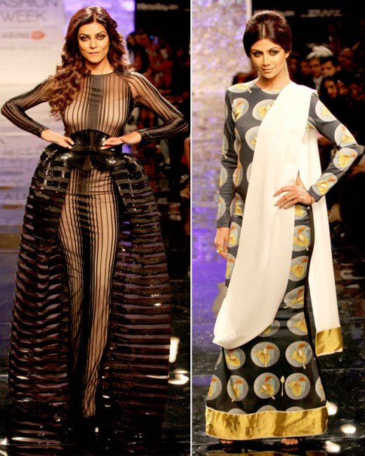Bollywood actress Shilpa Shetty and former beauty queen Sushmita Sen walked the ramp at the Lakme Fashion Week Winter/Festive 2014.