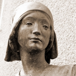 Tribute to a Great War Nurse: one of the figures on a war memorial