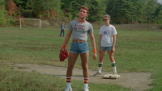 Billy (Loris Sallahain) get's it for two reasons: being a bully and wearing male Daisy Dukes in Sleepaway Camp