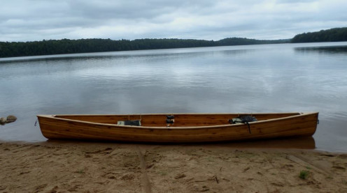 my cedar strip canoe number two waiting to be loaded