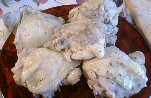 Poached Bone-In Chicken Thighs