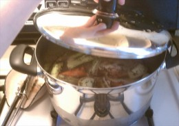 Cover pot and bring water to a boil.