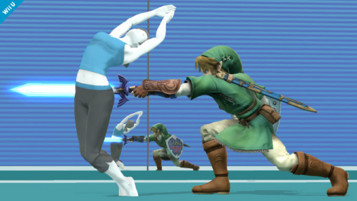 Wii Fit Trainer dodges Link's stab attack.