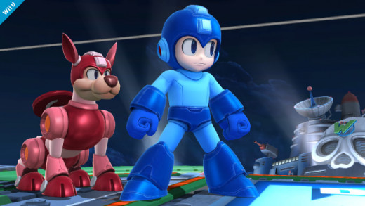 Mega Man and his dog, Rush, on the Dr. Wily's Castle stage.