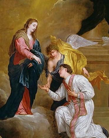 Saint Valentine kneels before angels