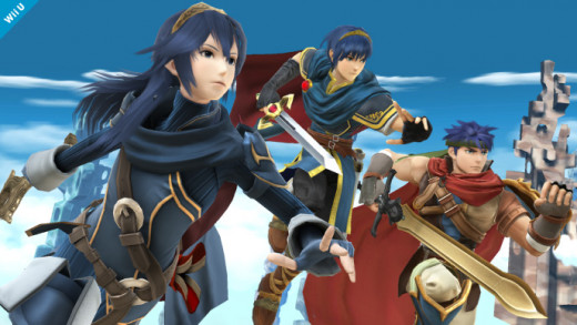 Lucina (left) alongside fellow Fire Emblem characters Marth (center) and Ike (right)