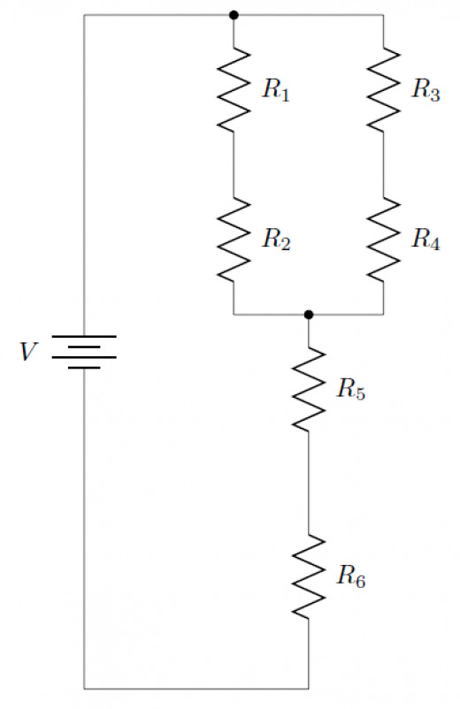 A sample circuit with series and parallel elements.
