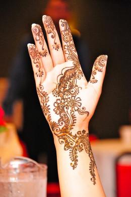 Henna design on the palm.
