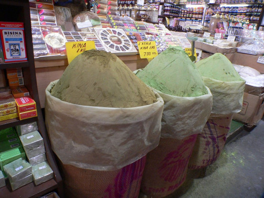 Henna powder for sale in the Middle East.