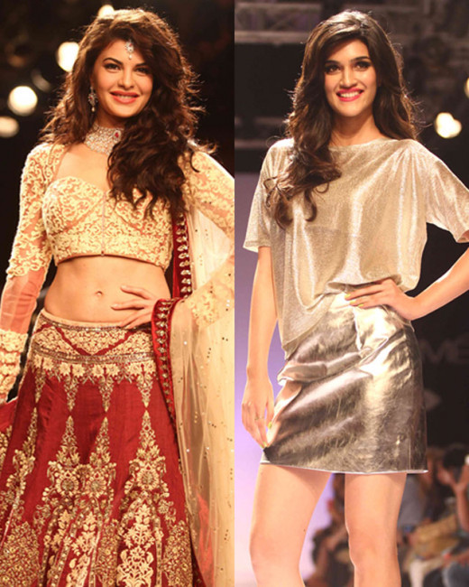 At the ongoing Lakme Fashion Week newbie Kriti Sanon walked the ramp for River Island, and the Kick actress Jacqueline Fernandez walked for designer Anju Modi.