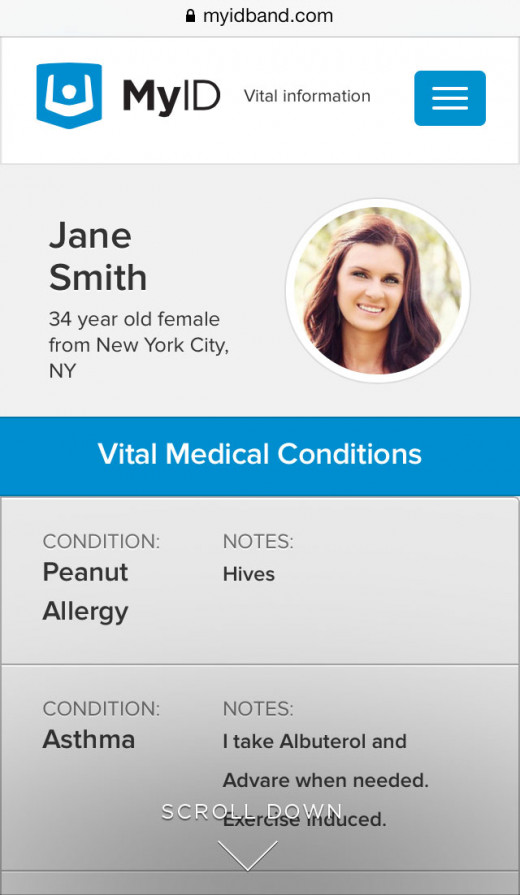 This is just a small part of a full medical profile that comes up when a MyID Bracelet is scanned or accessed with a pin number.