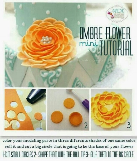 I stumbled upon this picture on Pinterest.  This picture explains how to make this pretty flower!