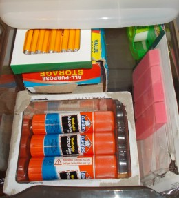 A school supply drawer can hold items like extra pencils, glue sticks and erasers.